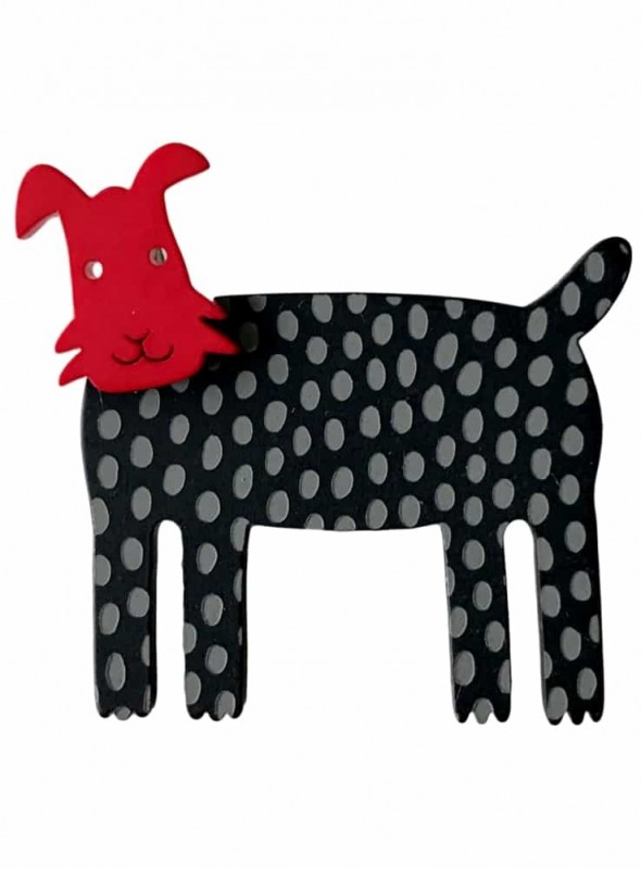 Broche hund rød grå