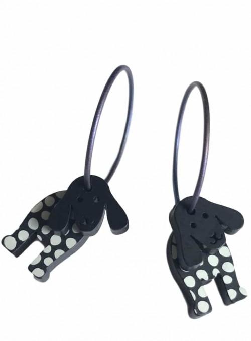 Øreringe hund med hængeører sort