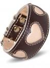 Designer halsbånd til mynder, håndlavet, brun læder Hearts