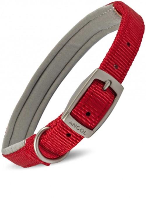 Halsbånd med polstring rødt nylon