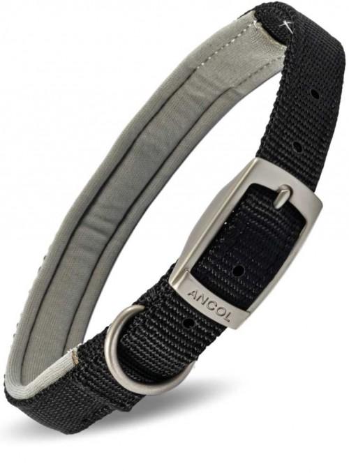 Halsbånd med polstring sort nylon