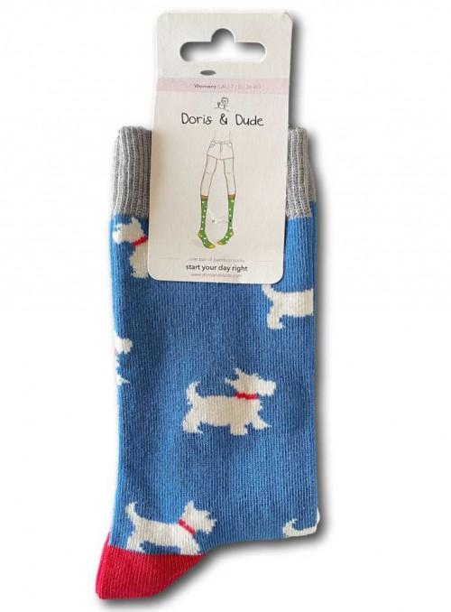 Bambusstrømper dame og herre med økologisk bomuld, Blue Westie fra Doris & Dude