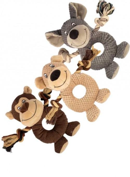 3 PAK hundelegetøj, 3 plys pivedyr med reb, Rope Ring Buddies