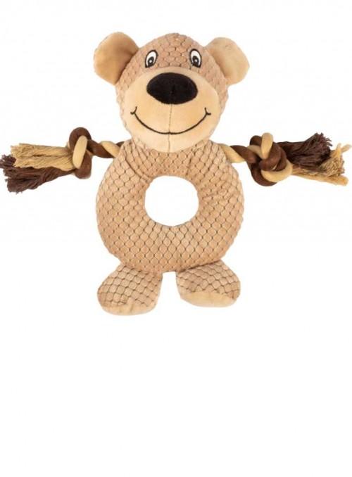 Hundelegetøj, plys pivedyr med reb, Rope Ring Buddy Beige